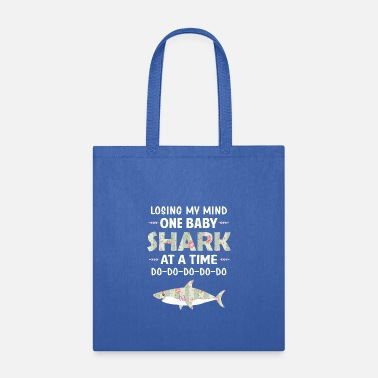Losing My Mind One Baby Shark At A Time Floral - Tote Bag