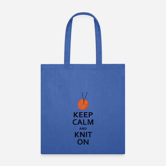 Knit Bags & Backpacks - Keep Calm Knit On - Tote Bag royal blue