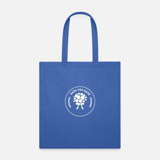 Date Bags & Backpacks - Flower Save The Date Silhouette - Tote Bag royal blue
