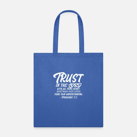 God Bags & Backpacks - Proverbs 3:5 - Tote Bag royal blue
