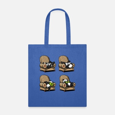 Panda Panda Bear Book Reading Poses - Tote Bag