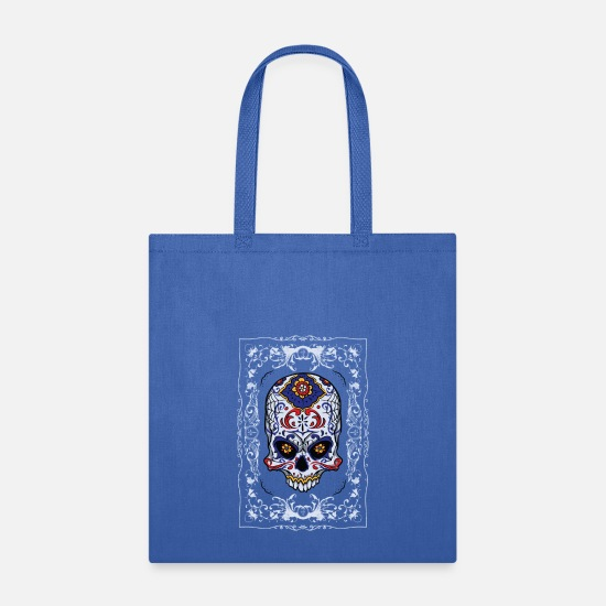 Muertos Bags & Backpacks - Dia de los Muertos - Sugar Skull - Tote Bag royal blue