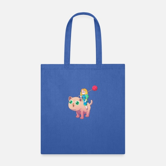 Catholic Bags & Backpacks - Cat and girl with lollypop - Tote Bag royal blue