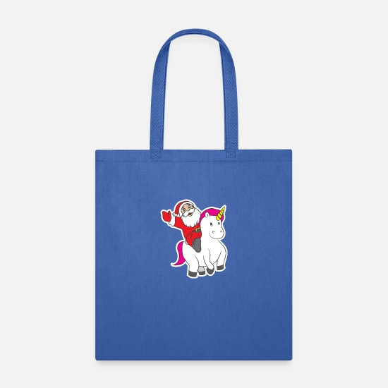 Sparkle Bags & Backpacks - Funny Christmas Unicorn Xmas Santa Holiday Gift - Tote Bag royal blue