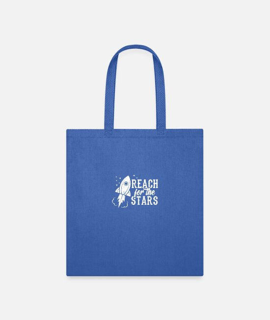 Space Bags & Backpacks - Perfect Universe Design Quote Reach For The Stars - Tote Bag royal blue