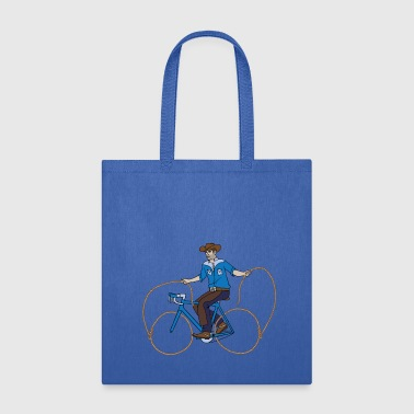 Cowboy Riding Bike With Lasso Wheels - Tote Bag