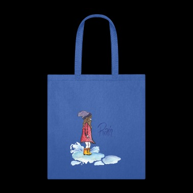 girl playing in a rain puddle - Tote Bag