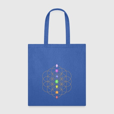 Flower Of Life With Chakra Stones - Tote Bag