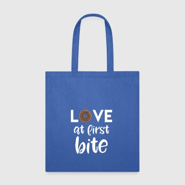 Love at first bite - cute funny donut gift t-shirt - Tote Bag