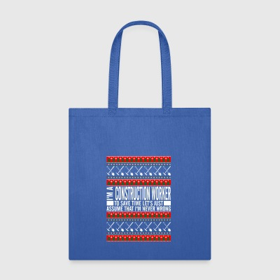 Construction Worker Ugly Christmas Sweater - Tote Bag
