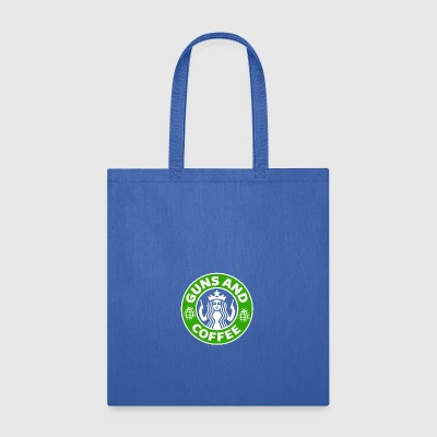 Guns and Coffee - Starbucks satire - Tote Bag