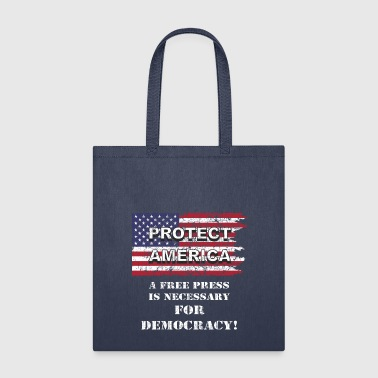 Free Press For Free America & Democracy US Flag wh - Tote Bag