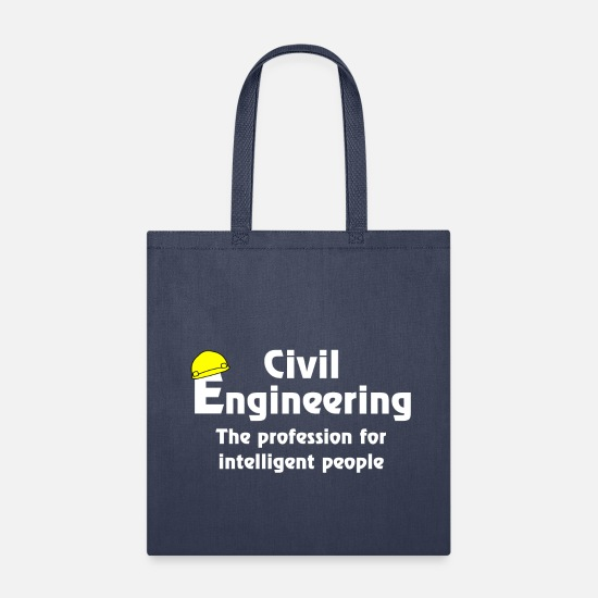 Electrical Bags & Backpacks - Smart Civil Engineer White Text - Tote Bag navy
