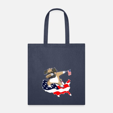 Hassel Free Pug Dog - Funny Dabbing Pug on American Flag Map - Tote Bag