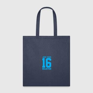 Bible Verse John 3:16 Believer, Lite Blue, Christian - Tote Bag