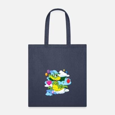 Animals Cute Dragon Fly with Balloon and clouds on sky - Tote Bag