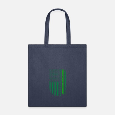Border Line Thin Green Line Border Patrol Irish American Flag - Tote Bag