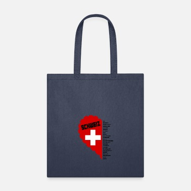 Canton Switzerland love and cantons black - Tote Bag