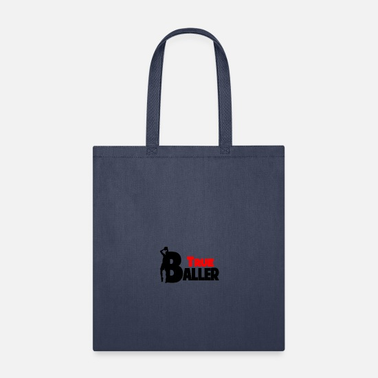 Gift Idea Bags & Backpacks - True Baller Basketball Team Sport - Tote Bag navy