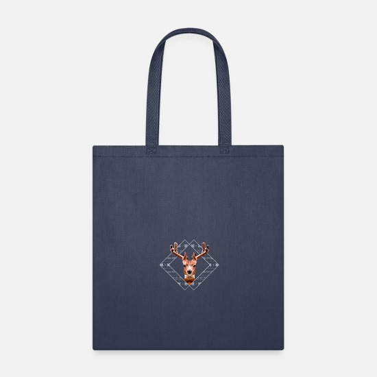 Snowflake Bags & Backpacks - Modern Christmas Reindeer - Tote Bag navy