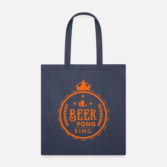 Alcohol Bags & Backpacks - x22_beer pong king_1c - Tote Bag navy