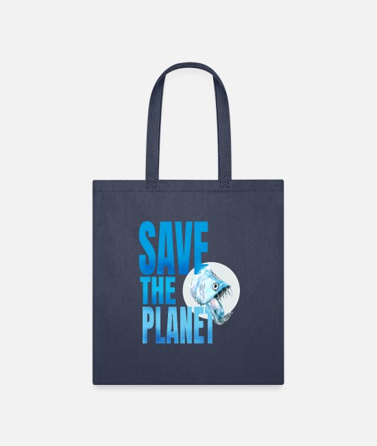 Planet 9 Bags & Backpacks - save planet piranha co2 polar - Tote Bag navy