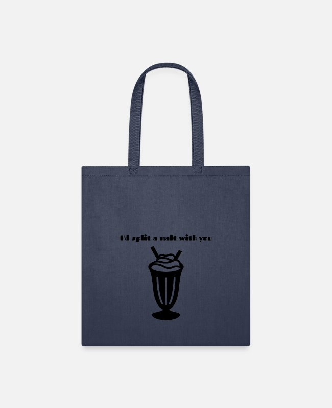 Young Bags & Backpacks - I'd split a malt with you - Tote Bag navy