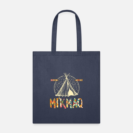 Indigenous Bags & Backpacks - Retro Native American Proud being Mi'kmaq Gift - Tote Bag navy