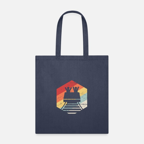 Roller Coaster Bags & Backpacks - Roller Coaster Theme Park Thrill Ride - Tote Bag navy
