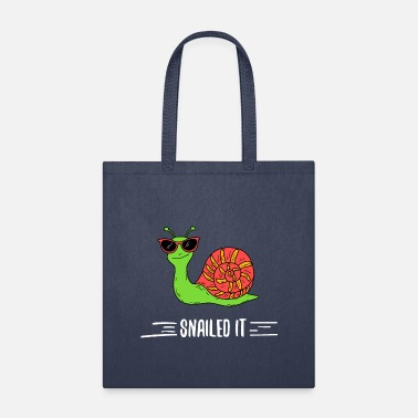 Handmade cotton shopping bag with funny snail design