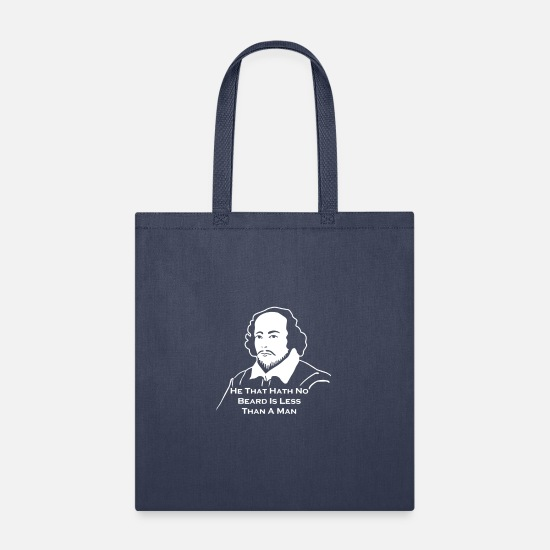 Shakespeare Bags & Backpacks - Shakespeare Beard Quote Much Ado About Nothing - Tote Bag navy