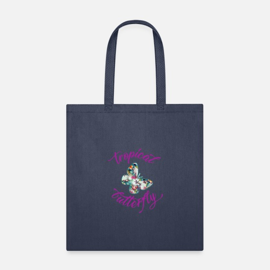 Tropical Bags & Backpacks - Tropical Butterfly - Tote Bag navy