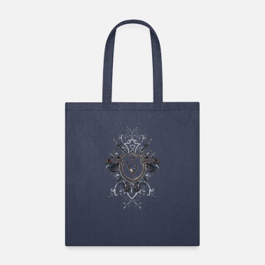 Two Knights Shield and Two Skulls - Tote Bag