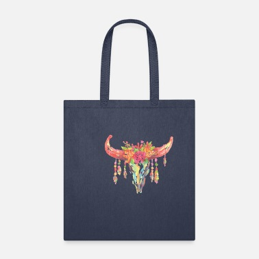 Skull Flower Watercolor Bovine Skull with Flowers Floral Animal - Tote Bag