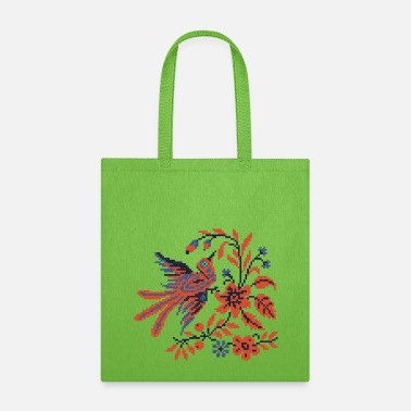 Folklore Cross-stitch folklore Charm bird on twig of flower - Tote Bag