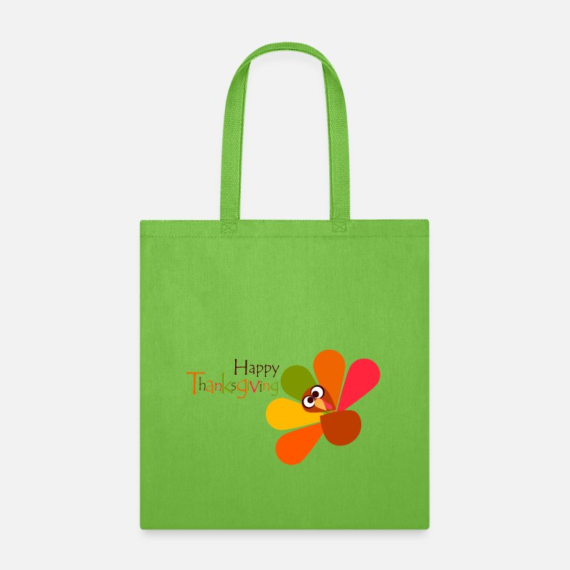 Turkey Bags & backpacks - Happy Thanksgiving Day Turkey 17 - Tote Bag lime green