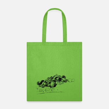 Cartoon Thelwell Bolting Horse And Cowboy - Tote Bag