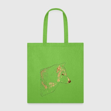 Grey Wolf Head Art Lines - Tote Bag