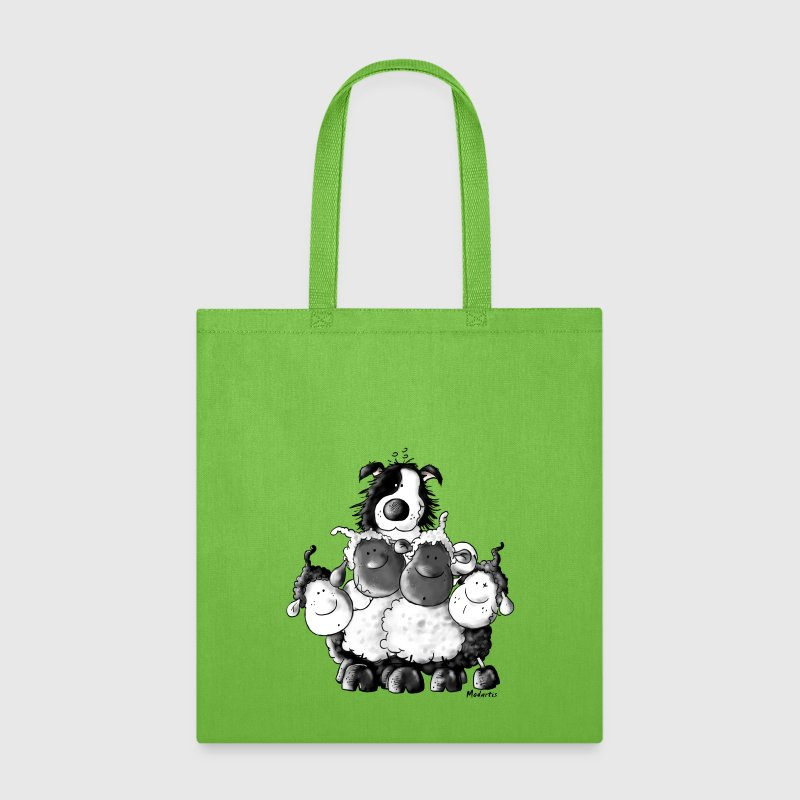 Border Collie And Sheep - Dog - Tote Bag