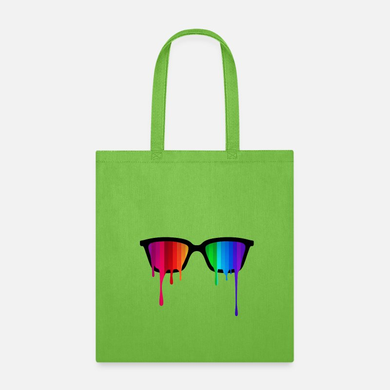 Abstract Bags & backpacks - Rainbow - Spectrum (Pride) / Hipster Nerd Glasses - Tote Bag lime green