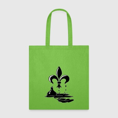 Fleur De Lis Drawing of Fleur de Lis, Black Ink & Feather Quill - Tote Bag