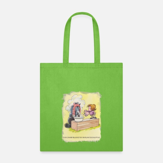 Pony Bags & Backpacks - Thelwell Sleeping Horse Inhaling Eucalyptus - Tote Bag lime green