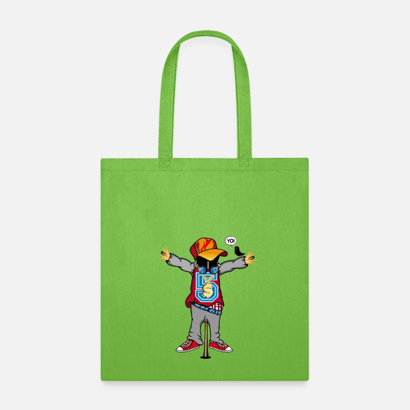 Birds Clothes Bags & backpacks - A scarecrow in Hip Hop Style  - Tote Bag lime green