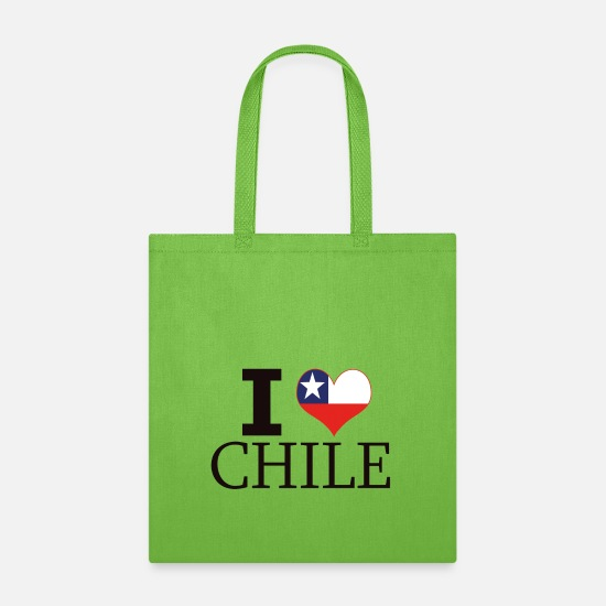 Love Bags & Backpacks - I LOVE CHILE I HEART SOUTH AMERICA CHILENA CHILENO - Tote Bag lime green
