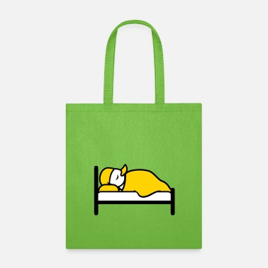 Sleeping lying in bed sleeping tired sleepyhead evening rec - Tote Bag