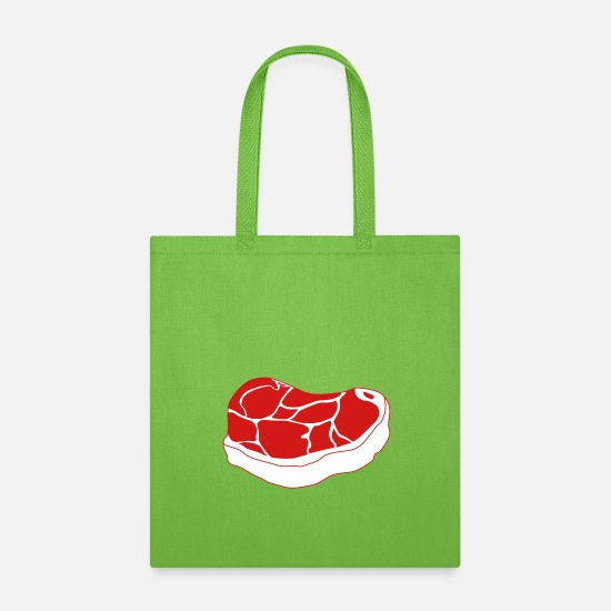 Steak Bags & Backpacks - beef steak - Tote Bag lime green