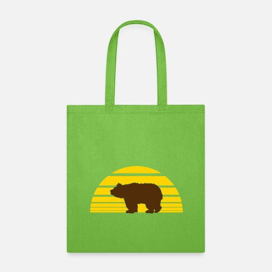 Symbol  Bags & backpacks - sonne sommer braunbär grizzlybär schwarzbär bär be - Tote Bag lime green