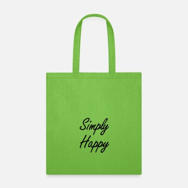 Simply Happy Text Shirt - Tote Bag