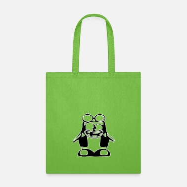 Tux Black penguin in nerd style - Tote Bag