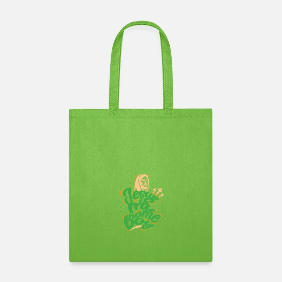 Homeboy Bags & Backpacks - Jesus is my Homeboy Christian God Bible Church Fun - Tote Bag lime green